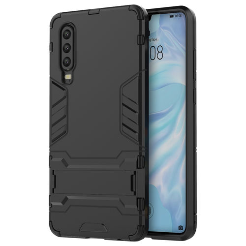 Slim Armour Tough Shockproof Case & Stand for Huawei P30 - Black